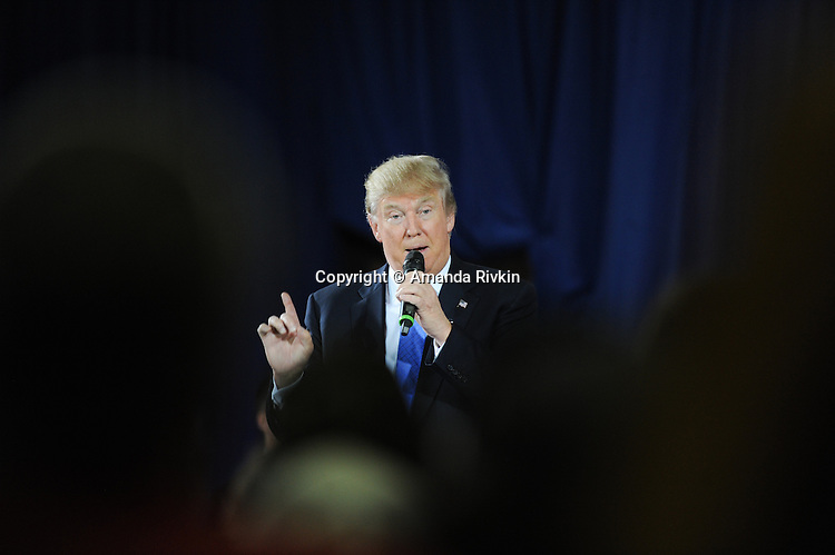 Republican presidential frontrunner Donald Trump during a town hall at the Holiday Inn Express in Janesville, Wisconsin on March 29, 2016.