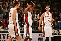14 January 2006: Brooke Smith, Candice Wiggins, and Krista Rappahahn during Stanford's 87-75 win over the California Golden Bears at Maples Pavilion in Stanford, CA.