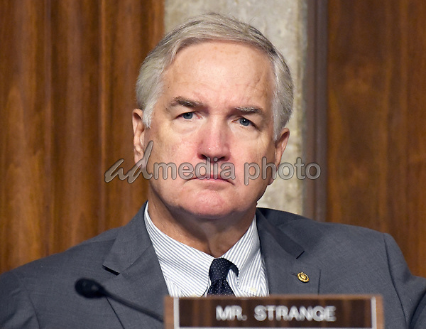 "United States Senator Luther Strange (Republican of Alabama) listens to testimony before the US Senate Committee on Armed Services on ""Recent United States Navy Incidents at Sea"" on Capitol Hill in Washington, DC on Tuesday, September 19, 2017.  The hearing is investigating the two separate collisions with the USS Fitzgerald and USS John S. McCain that resulted in the loss of 17 US Sailors. Strange is locked in a bitterly contested runoff campaign against conservative jurist Roy Moore for the right to permanently fill the US Senate seat vacated by US Attorney General Jeff Sessions. Photo Credit: Ron Sachs/CNP/AdMedia"