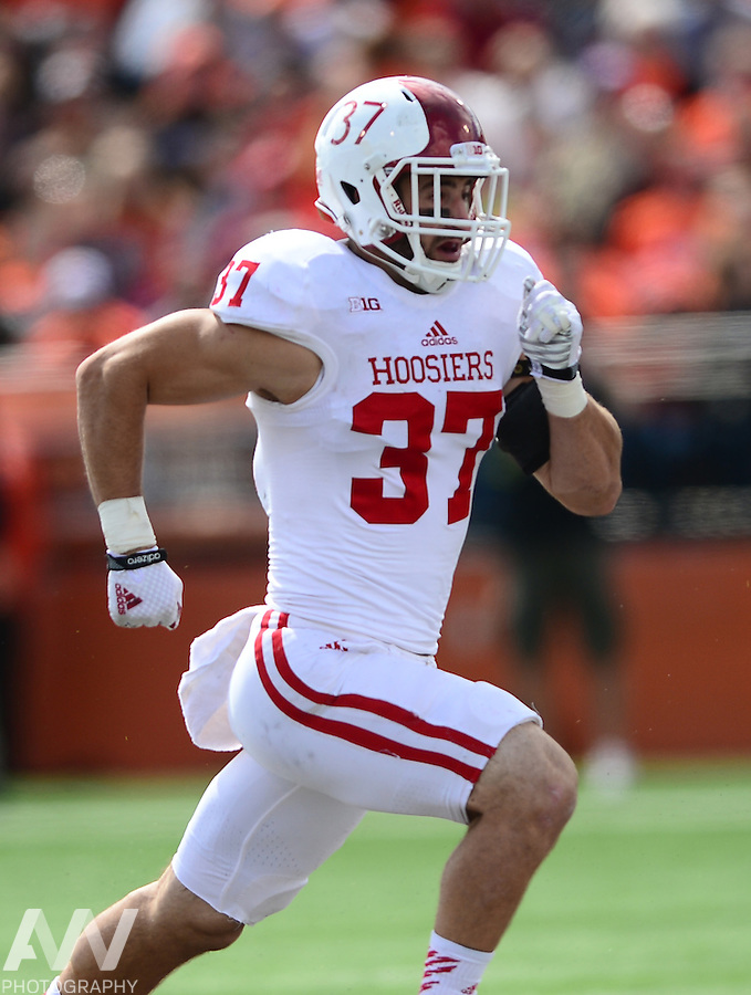 Sep 13, 2014; Bowling Green, OH, USA; Indiana Hoosiers safety Mark Murphy (37) against the Bowling Green Falcons at Doyt L. Perry Stadium. Mandatory Credit: Andrew Weber-USA TODAY Sports