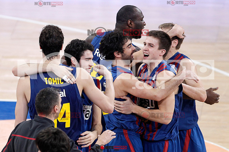 FC Barcelona Regal's Ante Tomic, Alex Abrines, Juan Carlos Navarro, Nathan Jawai, Xabi Rabaseda and Brad Oleson celebrate the victory  after Spanish Basketball King's Cup match.February 07,2013. (ALTERPHOTOS/Acero) /Nortephoto