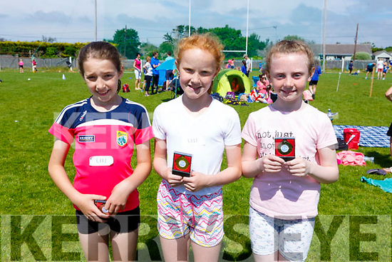 Winners in the U11 girls race at the St Brendan's AC Open Sports Day were l-r: Grainne Costello, Farranfore/Maine Valley AC (3rd), Kelly Collins, Listowel AC (1st) and Amy O'Connor, Listowel (2nd).