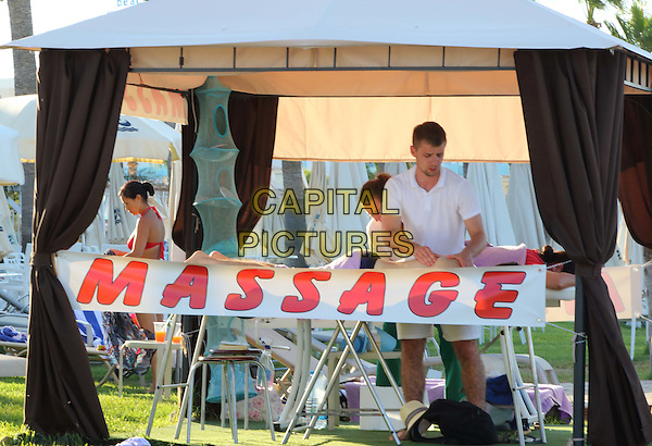 Beach massage service in the resort of Protaras, Cyprus - July 2015<br /> CAP/ROS<br /> &copy;ROS/Capital Pictures