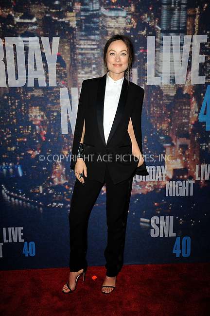 WWW.ACEPIXS.COM<br /> February 15, 2015 New York City<br /> <br /> Olivia Wilde  walking the red carpet at the SNL 40th Anniversary Special at 30 Rockefeller Plaza on February 15, 2015 in New York City.<br /> <br /> Please byline: Kristin Callahan/AcePictures<br /> <br /> ACEPIXS.COM<br /> <br /> Tel: (646) 769 0430<br /> e-mail: info@acepixs.com<br /> web: http://www.acepixs.com