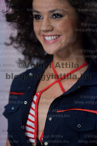 Contestant Szandra Szentivanyi participates the Beauty Queen live TV show hosting the joint beauty contests Miss World Hungary, Miss Universe Hungary and Miss Earth Hungary, held in Hungary's tv2 television headquarter in Budapest, Hungary on July 14, 2011. ATTILA VOLGYI