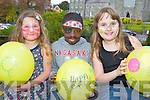 Amy Walsh, Hakeem Yekini and Rebecca Walsh who released balloons at the kids activity centre in aid of Kerry Hospice in the Killarney Outlet centre on Sunday
