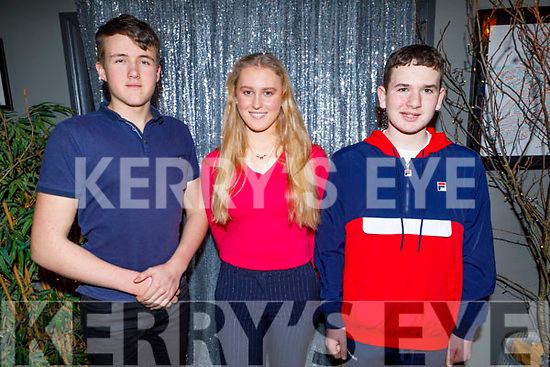 3 rowers from the Tralee Rowing Club who medals at Saturdays UL Rowing competition enjoying their club party in the Ashe Hotel on Saturday. <br /> L to r: Nicholas Larkin, Sarah Fitzgerald and Conor Mac Thréinfhir.