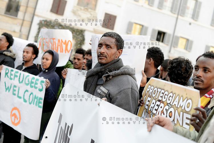 Roma, 25 Gennaio 2017<br /> Protesta al Pantheon di migranti, rifugiati e richiedenti asilo contro le politiche del Governo e del ministro dell'interno in tema di immigrazione.