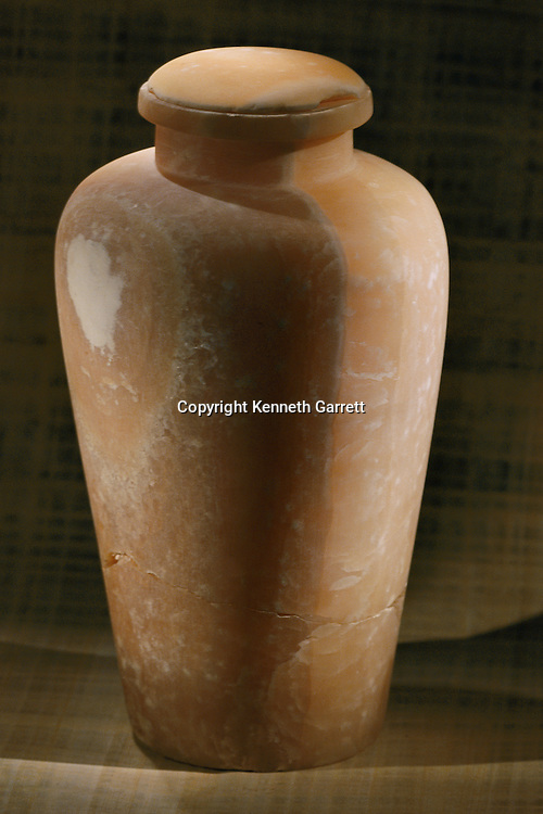 Alabaster canopic jar with plain stopper, Old Kingdom