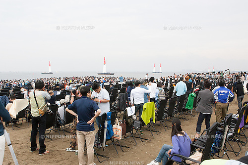 Fans attend the 2015 Red Bull Air Race on May 16th, 2015 in Chiba, Japan.<br /> This is the first time the Red Bull Air Race has been held in Japan and some 120,000 spectators attended the the race weekend. (Photo by Michael Steinebach/Aflo)