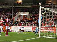 (l to r) Clark Robertson, Isaac Osbourne and Stephen Hughes watch as Jamie Langfield is beaten in the Aberdeen v St Mirren Scottish Communities League Cup match played at Pittodrie Stadium, Aberdeen on 30.10.12.