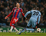Arjen Robben of Bayern Munich tackled by Eliaquim Mangala of Manchester City  - UEFA Champions League group E - Manchester City vs Bayern Munich - Etihad Stadium - Manchester - England - 25rd November 2014  - Picture Simon Bellis/Sportimage
