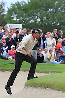 Jeev Milka Singh (IND) climbs out of a bunker at the 12th green during Day 1 Thursday of The Irish Open presented by Discover Ireland at Killarney Golf & Fishing Club on 28th July 2011 (Photo Jenny Matthews/www.golffile.ie)