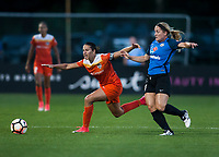 Kansas City, MO - Sunday July 02, 2017:  Carli Lloyd and Caroline Flynn attempt to chase the ball during a regular season National Women's Soccer League (NWSL) match between FC Kansas City and the Houston Dash at Children's Mercy Victory Field.