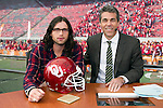 ESPN's Chris Fowler, right, poses with celebrity picker Nathan Followill from the band Kings of Leon  on the set of ESPN College Gameday at Camp Randall Stadium prior to the Wisconsin Badgers NCAA college football game against the Ohio State Buckeyes on October 16, 2010 at Camp Randall Stadium in Madison, Wisconsin.(Photo by David Stluka)