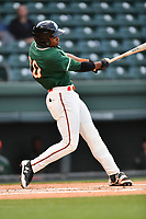 Third baseman James Nelson (20) of the Greensboro Grasshoppers bats in a game against the Greenville Drive on Tuesday, April 25, 2017, at Fluor Field at the West End in Greenville, South Carolina. Greenville won, 5-1. (Tom Priddy/Four Seam Images)