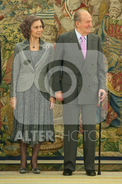 Spanish Royals Queen Sofia of Spain and King Juan Carlos of Spain attend the Sports Merit Royal Order Great Cross award to paralympic swimmer Maria Teresa Perales at Zarzuela Palace in Madrid, Spain. April 01, 2014. (ALTERPHOTOS/Victor Blanco)