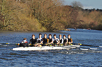 0RBL-Andrews .J18A.8+ .Reading Blue Coat Sch. Wallingford Head of the River. Sunday 27 November 2011. 4250 metres upstream on the Thames from Moulsford railway bridge to Oxford Universitiy's Fleming Boathouse in Wallingford. Event run by Wallingford Rowing Club..