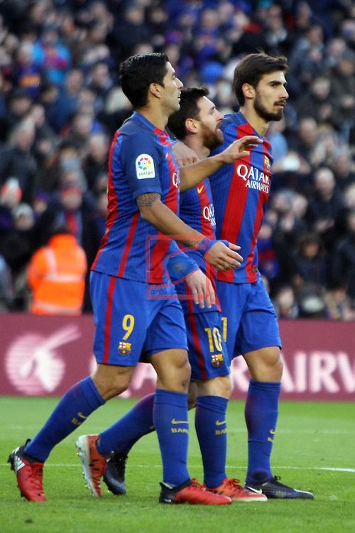 League Santander 2016/2017. Game: 18.<br /> FC Barcelona vs UD Las Palmas: 5-0.<br /> Luis Suarez, Lionel Messi &amp; Andre Gomes.