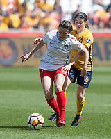 Sandy, UT - Saturday April 14, 2018: Diana Matheson, Taylor Comeau during a regular season National Women's Soccer League (NWSL) match between the Utah Royals FC and the Chicago Red Stars at Rio Tinto Stadium.