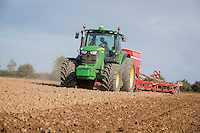 Drilling Venture winter barley with a 6m Horsch drill and John Deere 6210R with Autosteer - Norfolk, September