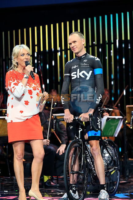 Chris Froome (GBR) Team Sky on stage at the Team Presentations held in the Leeds First Direct Arena before the Grand Depart of the 2014 Tour de France. 3rd July 2014.<br /> Picture: Eoin Clarke www.newsfile.ie