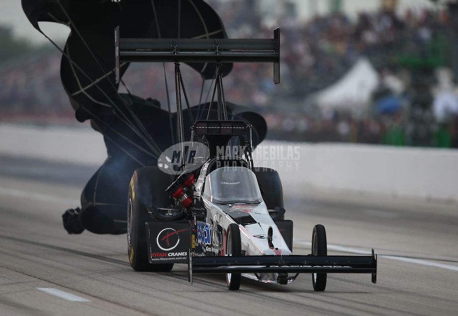 Apr. 26, 2013; Baytown, TX, USA: NHRA top fuel dragster driver Larry Dixon during qualifying for the Spring Nationals at Royal Purple Raceway. Mandatory Credit: Mark J. Rebilas-