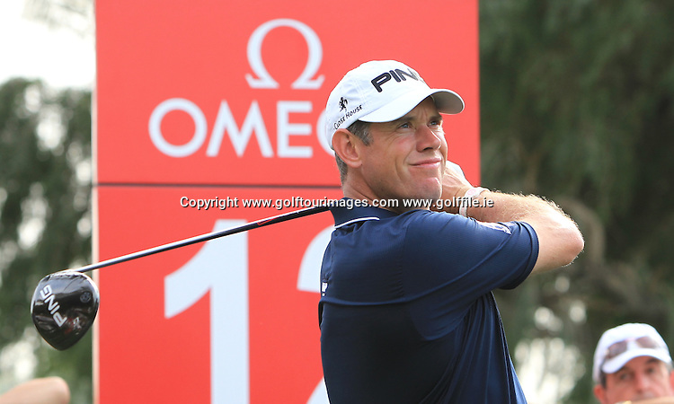 Lee Westwood during the pro-am ahead of the 2013 Omega Dubai Desert Classic being played over the Majlis Golf Course, Emirates Golf Course from 31st January to 3rd February 2013: Picture Stuart Adams www.golftourimages.com:  30th January 2013