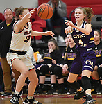 Civic Memorial guard Maura Niemeier (right) passes past Highland guard Kirsten Taylor. Highland played Civic Memorial in the Class 3A Effingham sectional championship game at Effingham High School in Effingham, Illinois on Thursday February 27, 2020. <br /> Tim Vizer/Special to STLhighschoolsports.com