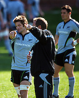 Richie McCaw, skills coach Mick Byrne and Dan Carter. All Blacks Training Session at Rugby League Park, Newtown, Wellington. Thursday 17 September 2009. Photo: Dave Lintott/lintottphoto.co.nz