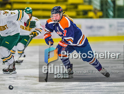 4 January 2014:  Syracuse University Orange forward Jessica Sibley, a Freshman from Luseland, Saskatchewan, in action against the University of Vermont Catamounts, in non-conference play at Gutterson Fieldhouse in Burlington, Vermont. The Orange defeated the UVM Lady Cats 4-3 in their first ever NCAA meeting. Mandatory Credit: Ed Wolfstein Photo *** RAW (NEF) Image File Available ***