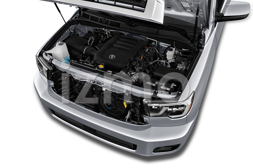 Car stock 2018 Toyota sequoia sr 5 Door SUV engine high angle detail view