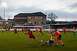 Stocksbridge attack with the club house in the background. Stocksbridge Park Steels v Pickering Town, Evo-Stik East Division, 17th November 2018. Stocksbridge Park Steels were born from the works team of the local British Steel plant that dominates the town north of Sheffield.<br />
