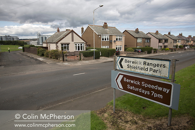 A road sign directing spectators to Shielfield Park, before the Scottish League Two fixture between Berwick Rangers and East Stirlingshire. The home club occupied a unique position in Scottish football as they are based in Berwick-upon-Tweed, which lies a few miles inside England. Berwick won the match by 5-0, watched by a crowd of 509.