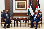 Palestinian President Mahmoud Abbas meets with Egyptian Foreign Minister, Sameh Shoukry, in the West Bank city of Ramallah on July 20, 2020. Photo by Thaer Ganaim