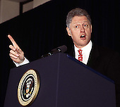 Washington, DC - February 27, 1997 - United States President Bill Clinton makes a point during his speech to The Business Council..Credit: Ron Sachs / CNP