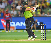 10th February 2018, Melbourne Cricket Ground, Melbourne, Australia; International Twenty20 Cricket, Australia versus England;  Aaron Finch of Australia hits a boundary