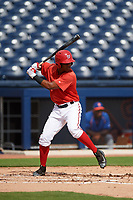 GCL Nationals center fielder Edwin Ventura (15) at bat during the first game of a doubleheader against the GCL Mets on July 22, 2017 at The Ballpark of the Palm Beaches in Palm Beach, Florida.  GCL Mets defeated the GCL Nationals 1-0 in a seven inning game that originally started on July 17th.  (Mike Janes/Four Seam Images)