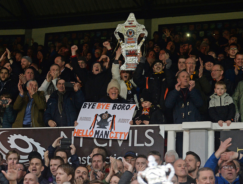 Newport County fans celebrate at the final whistle <br /> <br /> Photographer Ian Cook/CameraSport<br /> <br /> Emirates FA Cup Fourth Round Replay - Newport County v Middlesbrough - Tuesday 5th February 2019 - Rodney Parade - Newport<br />  <br /> World Copyright © 2019 CameraSport. All rights reserved. 43 Linden Ave. Countesthorpe. Leicester. England. LE8 5PG - Tel: +44 (0) 116 277 4147 - admin@camerasport.com - www.camerasport.com