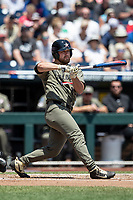 Vanderbilt Commodores outfielder Stephen Scott (19) at bat during Game 3 of the NCAA College World Series against the Louisville Cardinals on June 16, 2019 at TD Ameritrade Park in Omaha, Nebraska. Vanderbilt defeated Louisville 3-1. (Andrew Woolley/Four Seam Images)