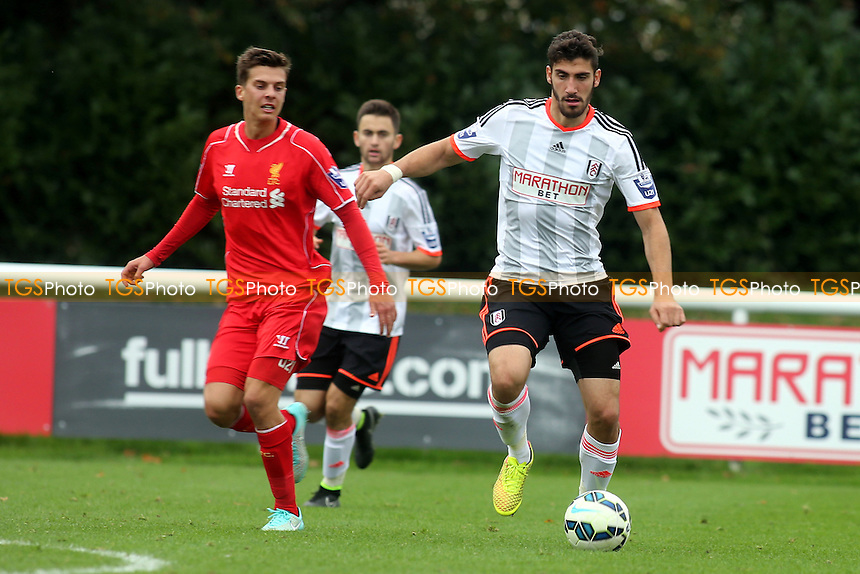 Fulham's Marcello Trotta in action - Fulham Under-21 vs Liverpool Under-21 - Barclays Under-21 Premier League Football at Motspur Park Training Ground, Surrey - 26/10/14 - MANDATORY CREDIT: Paul Dennis/TGSPHOTO - Self billing applies where appropriate - contact@tgsphoto.co.uk - NO UNPAID USE