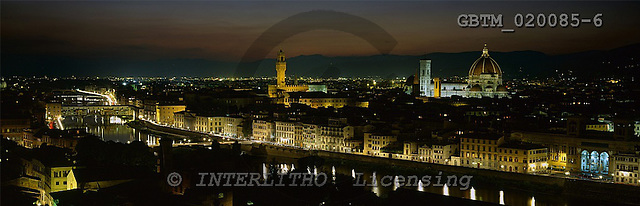 Tom Mackie, LANDSCAPES, panoramic, photos, View over Florence at Night, Tuscany, Italy, GBTM020085-6,#L#