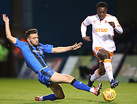 Blackpool's Marc Bola and Gillingham's Luke O'Neill<br /> <br /> Photographer Rachel Holborn/CameraSport<br /> <br /> The EFL Sky Bet League One - Gillingham v Blackpool - Tuesday 6th November 2018 - Priestfield Stadium - Gillingham<br /> <br /> World Copyright &copy; 2018 CameraSport. All rights reserved. 43 Linden Ave. Countesthorpe. Leicester. England. LE8 5PG - Tel: +44 (0) 116 277 4147 - admin@camerasport.com - www.camerasport.com