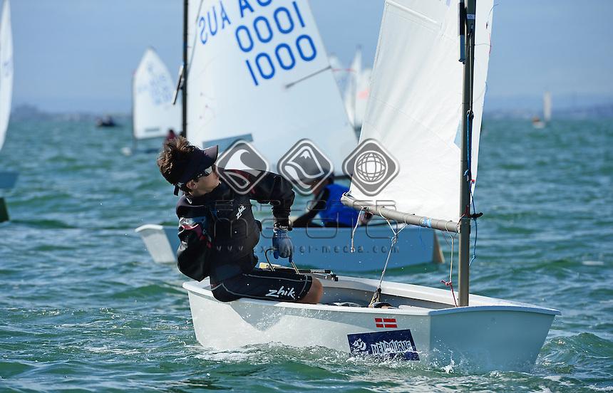 Optimist / Jamie ROSENBERG (AUS)<br /> 2013 ISAF Sailing World Cup - Melbourne<br /> Sail Melbourne - The Asia Pacific Regatta<br /> Sandringham Yacht Club, Victoria<br /> December 1st - 8th 2013<br /> &copy; Sport the library / Jeff Crow