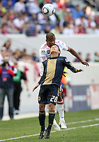 Roger Torres #20 of the Philadelphia Union is beaten to a header by Jeremy Hall #17 of the New York RedBulls during a MLS  match on April 24 2010, at RedBull Arena, in Harrison, New Jersey.