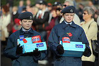 Pictured: Young cadets with boxes of British Legion poppies Friday 11 November 2016<br />