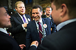 © Joel Goodman - 07973 332324 . 24/06/2016 . Manchester , UK . UKIP's STEVEN WOOLFE celebrates at the declaration in the EU referendum at Manchester Town Hall after it is projected that LEAVE will win . Photo credit : Joel Goodman