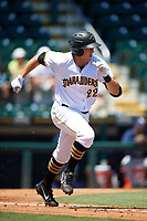 Bradenton Marauders first baseman Will Craig (22) runs to first base during a game against the Charlotte Stone Crabs on April 9, 2017 at LECOM Park in Bradenton, Florida.  Bradenton defeated Charlotte 5-0.  (Mike Janes/Four Seam Images)