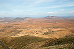 Landscape of hills and valleys barren interior of Fuerteventura, Canary Islands, Spain