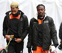Blackpool's Myles Boney (left) and Joe Dodoo make their way to the bench before kick off <br /> <br /> Photographer David Shipman/CameraSport<br /> <br /> The EFL Sky Bet League One - Charlton Athletic v Blackpool - Saturday 16th February 2019 - The Valley - London<br /> <br /> World Copyright © 2019 CameraSport. All rights reserved. 43 Linden Ave. Countesthorpe. Leicester. England. LE8 5PG - Tel: +44 (0) 116 277 4147 - admin@camerasport.com - www.camerasport.com